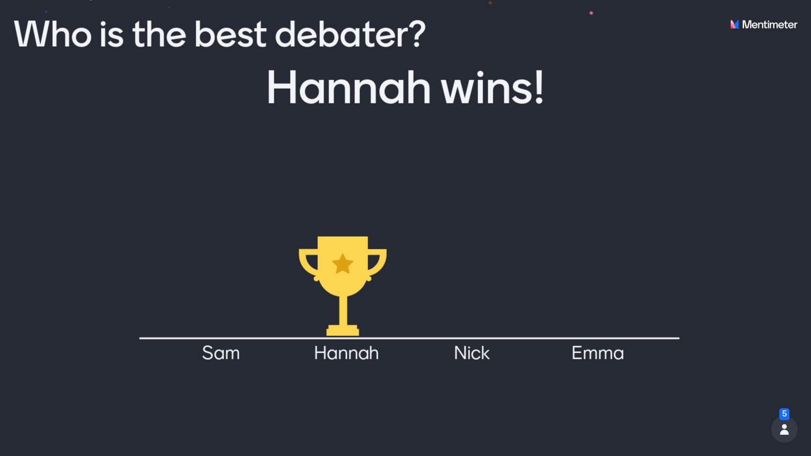 Let the audience vote for their favorite debator!
